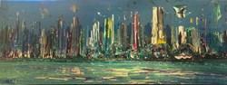 Şehir Manzaralı El Yapımı Yağlı Boya Tablo görseli