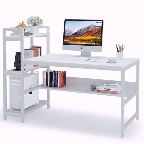 Beyaz Raflı Çalışma Masası görseli