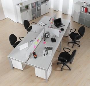 Radical Dörtlü Kesonlu Çalışma Masası + Panel görseli