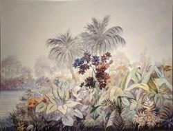 Çiçekler ve Ağaçlar Yağlı Boya Tablosu görseli