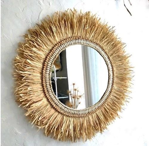 Dekoratif Taşlı Aynalı Rafya Duvar Süsü 45 Cm görseli