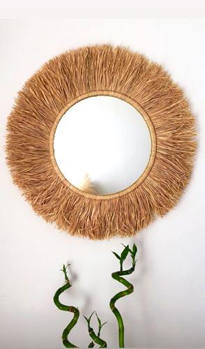 Dekoratif Aynalı Rafya Duvar Süsü 45 Cm görseli